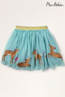 Boden Blue Sequin Appliqué Tulle Skirt