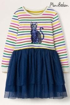 Boden Blue Cat Sequin Tulle Dress