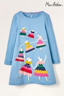 Boden Blue Bunny Ballerina Appliqué Dress