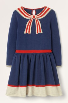 Boden Blue Bow Knitted Dress