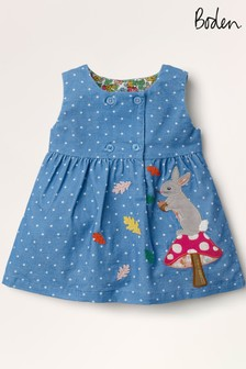 فستان طراز مريلة كوردروي أزرق بأبليك منBoden