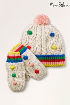 Boden Ivory Pompom Hat & Gloves Set
