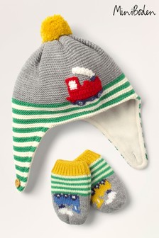 Boden Grey Baby Train Hat & Mittens Set