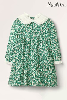 Boden Green Lace Collar Tiered Woven Dress