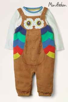 Boden Brown Owl Cord Dungarees Set