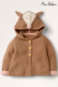 Boden Brown Deer Hooded Knitted Jacket