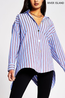 River Island Red Dark Stripe Longline Shirt