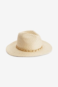Chain Detail Woven Panama Hat