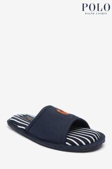 Polo Ralph Lauren Mens Navy Striped Antero Slipper