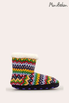 Boden Blue Knitted Slipper Boots