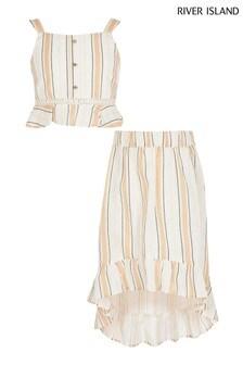 River Island Beige Stripe Skirt Set