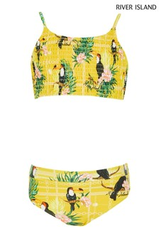 River Island Yellow Light Toucan Bandeau Bikini