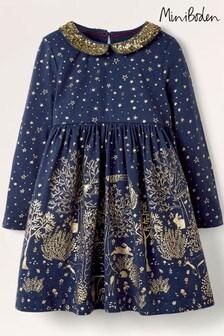 Boden Navy Sparkle Collar Party Dress
