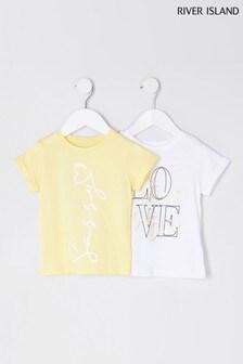 Yellow Sassy Slogan 2 Pack T-Shirts