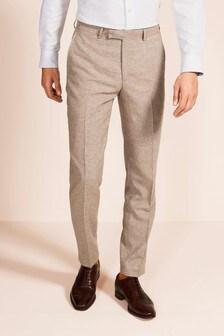 Moss 1851 Tailored Fit Oatmeal Herringbone Trousers
