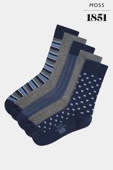 Pack de5 pares de calcetines de mezcla de algodón en azul marino de Moss1851