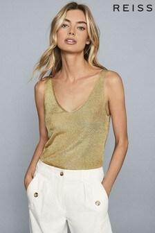 חולצה סרוגה מטאלית של Reiss דגם Alexis בזהב