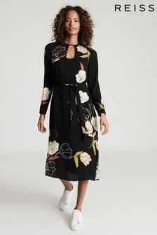 Черное платье миди с цветочным принтом Reiss Arley