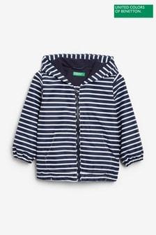 Benetton海軍藍條紋Wind夾克外套