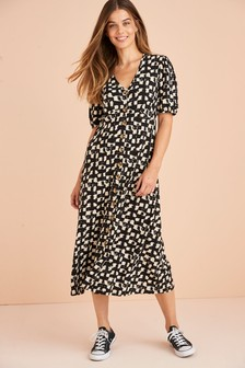 Maternity/Nursing Button Through Midi Dress