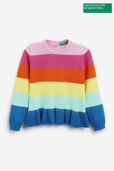 Benetton Rainbow Striped Frill Hem Jumper