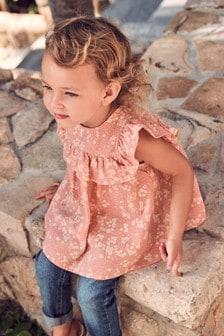 Хлопковая блузка с оборками  (3 мес.-7 лет)