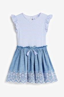 Stripe Broderie Dress (3-12yrs)
