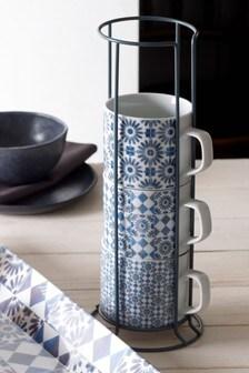 Set of 4 Tile Stacking Mugs