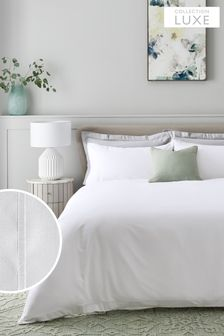 White 300 Thread Count 100% Cotton Sateen Collection Luxe Duvet Cover and PIllowcase Set