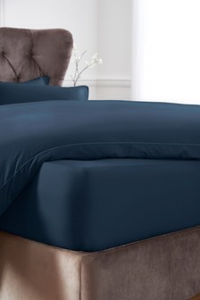 Navy Extra Deep Fitted 300 Thread Count Collection Luxe 100% Cotton Sheet