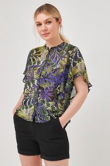 Блузка с оборкой на рукаве