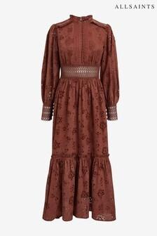 Рыжее платье с вышивкой ришелье AllSaints Sia