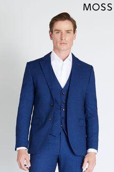 Moss London Slim Fit Blue Slub Suit: Jacket