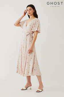 Ghost Pink Mabel Embroidered Crepe Dress