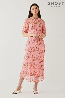 Ghost Pink Sesame Printed Georgette Dress