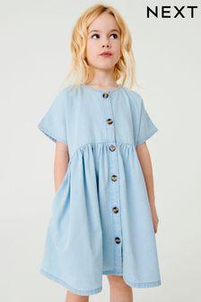 שמלת ג׳ינס בגזרה רפויה (גילאי 3 עד 16)
