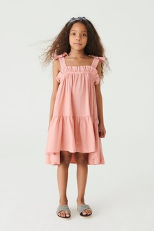 Tiered Linen Blend Dress (3-16yrs)