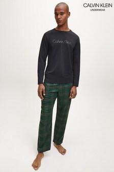 طقم بيجاما خامة ناعمة أسود من Calvin Klein