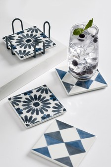Set of 4 Tile Ceramic Coasters with Holder