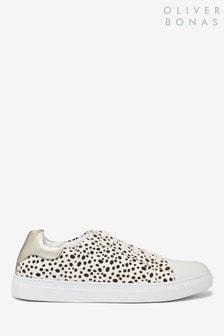 Oliver Bonas Cream Spotty Dotty Animal Print Leather Trainers