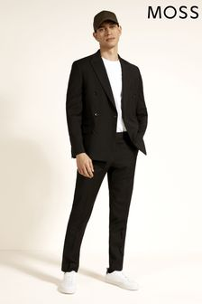 Moss London Black Slim Fit Double Breasted Stretch Jacket