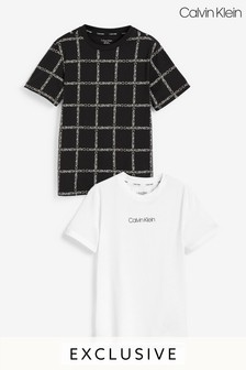 عبوة اثنين تي شيرت أسود مطبوع من Calvin Klein حصري لـNext