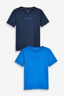 عبوة اثنين تي شيرت أزرق Calvin Klein حصري لدى Next