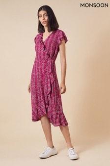 Monsoon Pink Fergie Ruffle Wrap Mesh Midi Dress