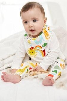 מארז סט 3 חלקים כולל חולצת טי, טייץ וסינר מכותנה אורגנית עם קשת (0 חודשים עד גיל 2)
