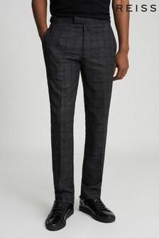 Pantalon ajusté Reiss Balsa à carreaux anthracite