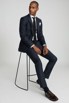 Reiss Dunn Textured Slim Fit Suit: Trousers