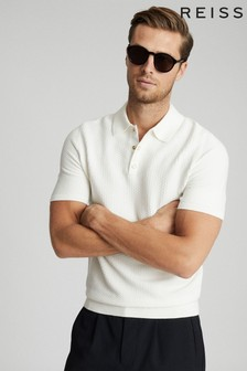 Reiss Ecru Acton Press Stud Polo Shirt