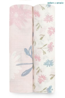Aden + Anais Essentials Silky Soft 2 Pack Swaddle Blanket Vintage Floral