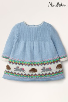 Boden Blue Fair Isle Knitted Dress
